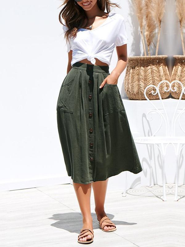 Woman Chic Cotton Long Button Skirts