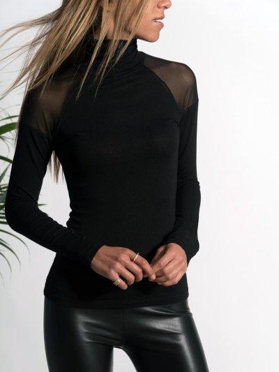 Fashion High Collar Pure Color Long Sleeve Shirt