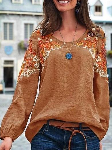 Fashion Casual Print Round neck Long sleeve T-Shirts