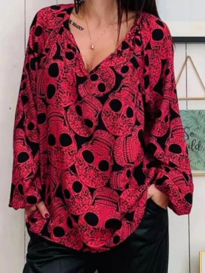 Women's skull printed large v-neck top Blouses