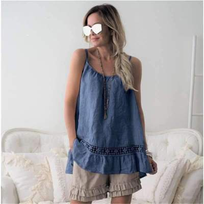Fashion Women Lace Round neck Vest T-Shirts