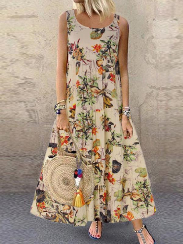 Sleeveless round neck vintage floral printed maxi dresses