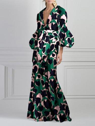 Floral print v-neck fashion maxi dresses