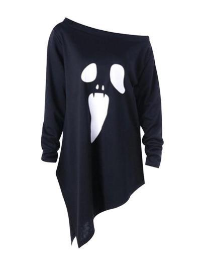 Ghost printed long sleeve one off shoulder irregular diagonal T-shirts