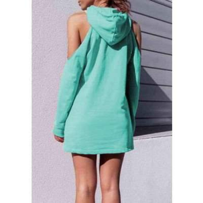 Fashion Word print Off shoulder Long sleeve Hoodies Sweatshirts