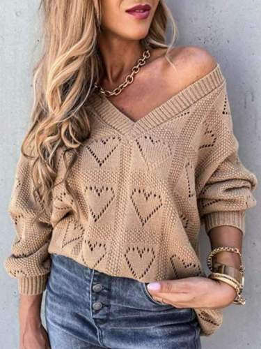 Plain vneck hollow out heart shaped loose knit sweaters