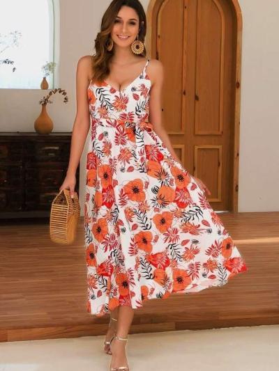 Fashion Sleeveless Print V neck Vest Skater Dresses