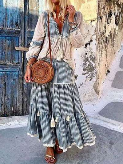 Casual Stripe Gored V neck Long sleeve Top&Dresses Suit