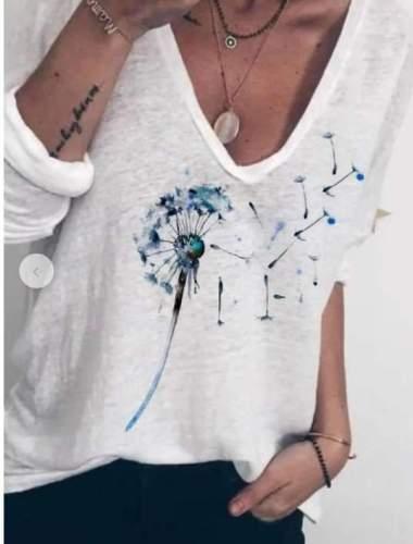 Casual Loose Print V neck Long sleeve T-Shirts