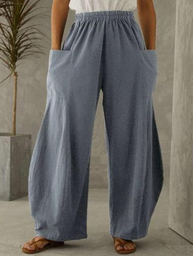 Casual Loose Pure Pocket Pants