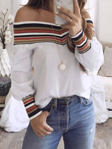 Fashion Off shoulder Gored Long sleeve Blouses