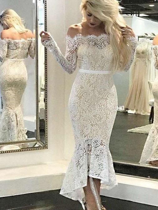 Sexy Lace Off shoulder Long sleeve Bodycon Evening Dresses