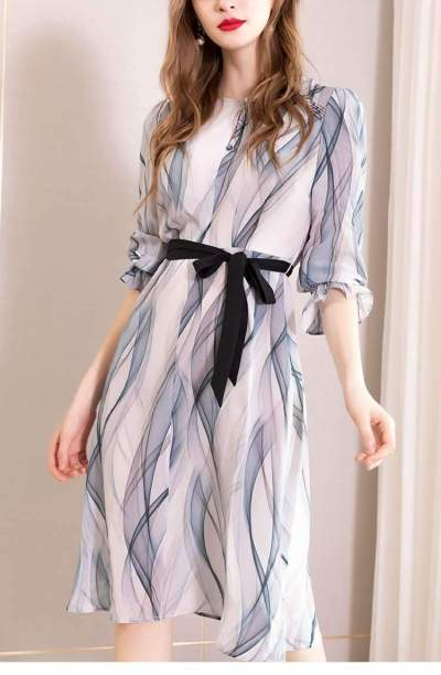 Fashion Print Lacing Round neck Long sleeve Skater Dresses