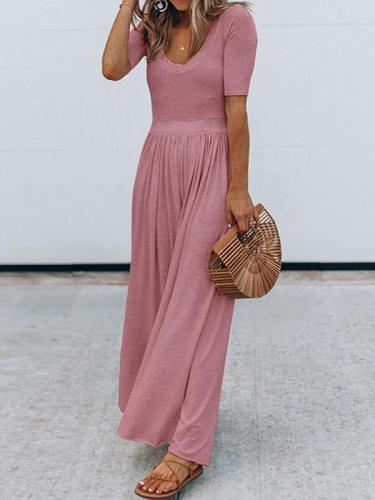 Elegant Daily Plain round neck short sleeve long maxi dresses