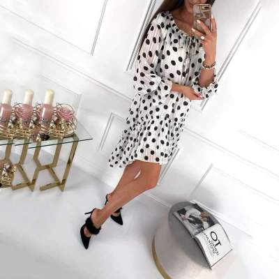 Fashion Casual Point print Round neck Long sleeve Shift Dresses