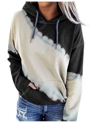 Fashion Gored print Long sleeve Hoodies Sweatshirts