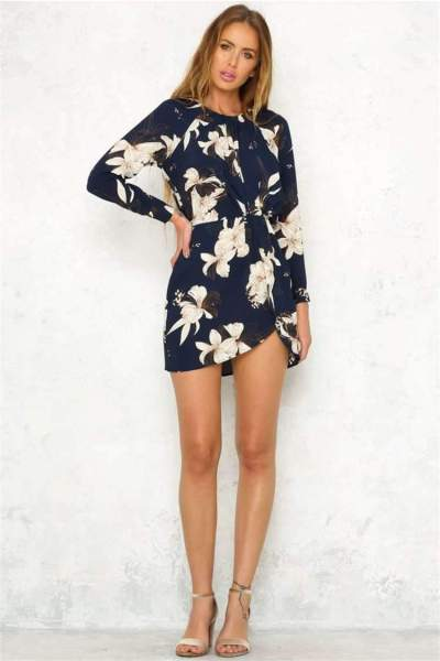 Fashion Print Round neck Long sleeve Tee Skater Dresses