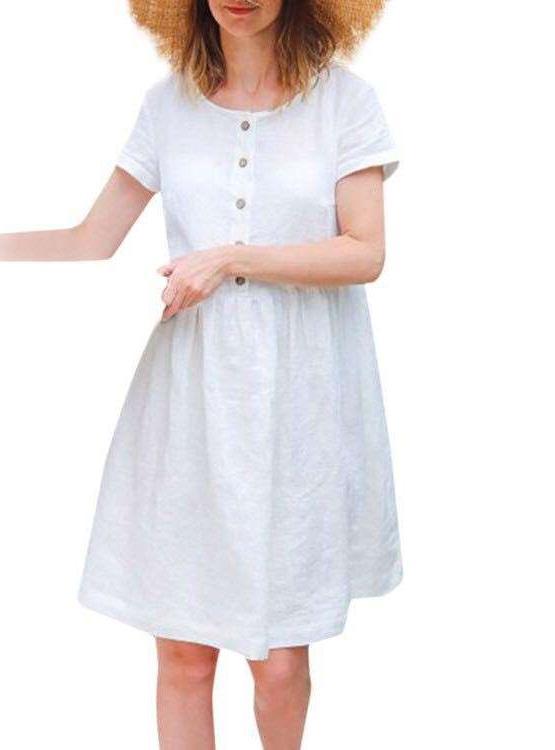 Loose Pure Short sleeve Shift Dresses