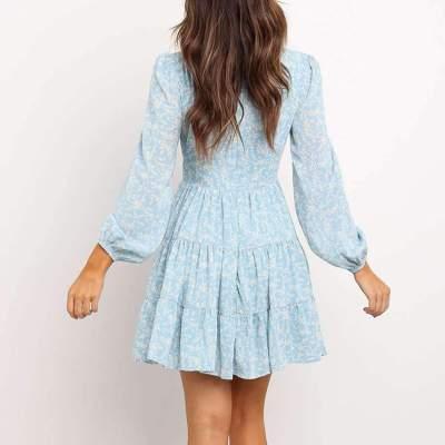 Fashion Print V neck Lacing Skater Dresses