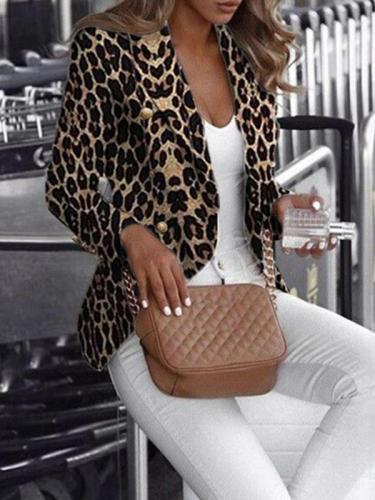 Leopard printed long sleeve stylish blazer