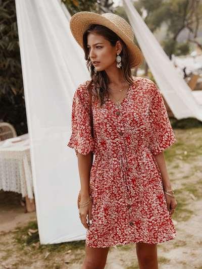 Fashion Print V neck Half sleeve Skater Dresses