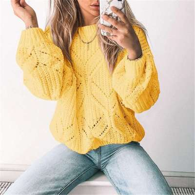 Pure Casual Loose Hollow out Round neck Long sleeve Knit Sweaters