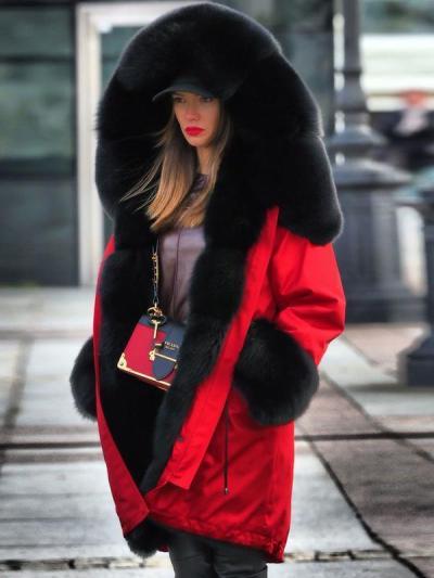 Fashion hooded plush warm long sleeve plain long coats outfits