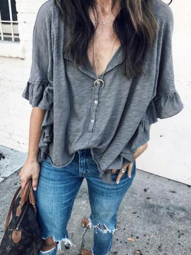 Loose round neck short sleeve T-shirts