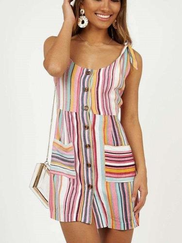 Fashion Sexy Round neck Sleeveless Stripe Shift Dresses