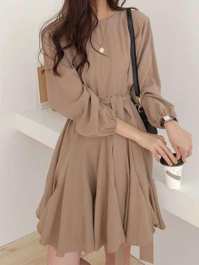 Pure Long sleeve Round neck Skater Dresses