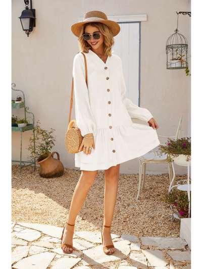 Fashion Pure V neck Falbala Fastener Shift Dresses