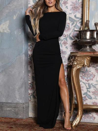 Elegant long sleeve round neck backless women eveing dresses