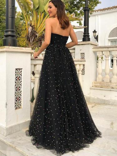 Elegant fashion women black lace long evening dresses