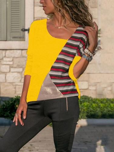 Patchwork Matching Color Stripe Round Collar Long Sleeve casual T-shirt