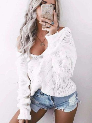 Fashion Pure Knit Long sleeve V neck Sweaters
