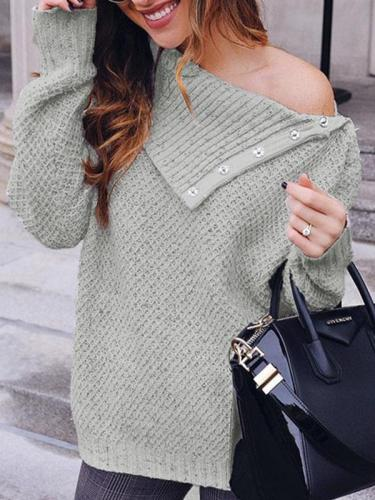Fashion Bbutton one off shoulder sweater tops