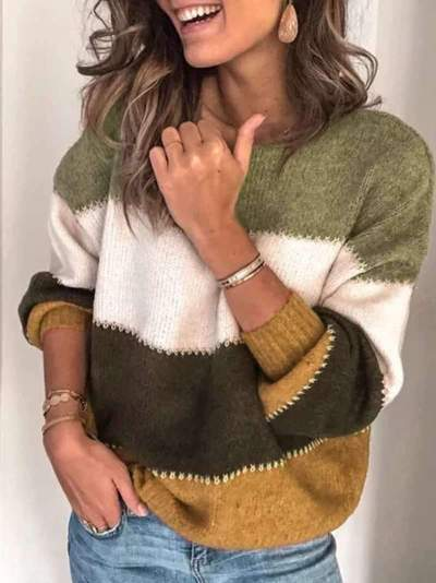 Casual Gored Knit Round neck Long sleeve Sweaters