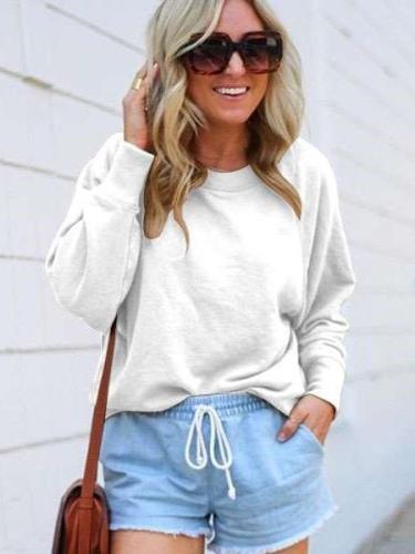 Fashion Casual Pure Round neck Long sleeve Sweatshirts