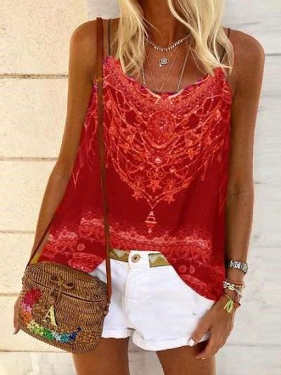 Casual Loose Print Round neck Vests