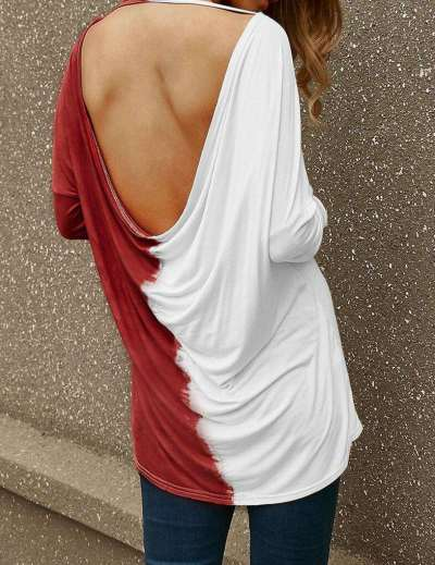Fashion Round neck Gored Long sleeve T-Shirts