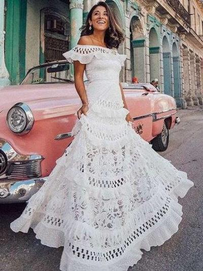 Fashion Lace Off shoulder Hollow out  Falbala Evening Dresses