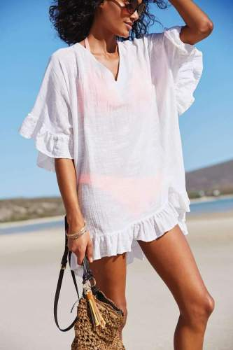Casual Pure V neck Half sleeve Falbala Vacation Dresses