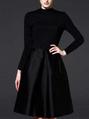 Black Round Neck Long Sleeve Woman Skater Dresses