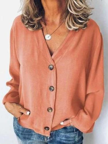 Fashion Pure V neck Long sleeve Blouses