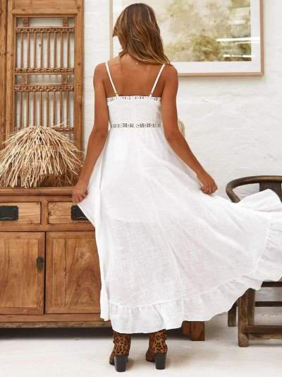 Fashion Lace  Falbala Irregular Maxi Dresses