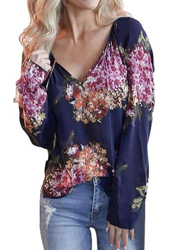 Floral V neck Long sleeve T-Shirts