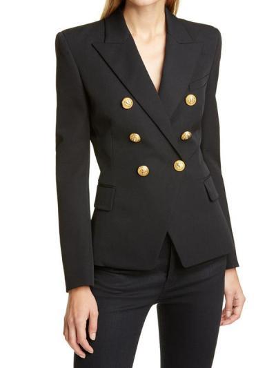 Women stylish turn down neck long sleeve blazer