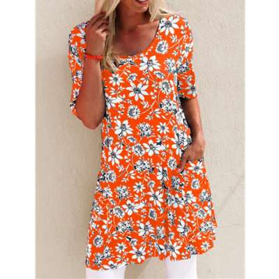 Fashion Print Round neck Short sleeve Pocket Shift Dresses