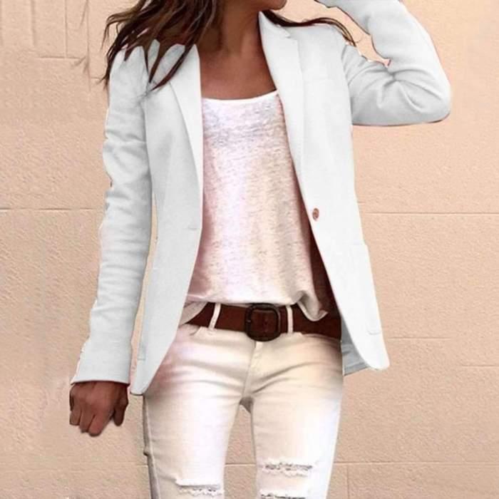 Fashion Casual Pure Long sleeve Pocket Blazer