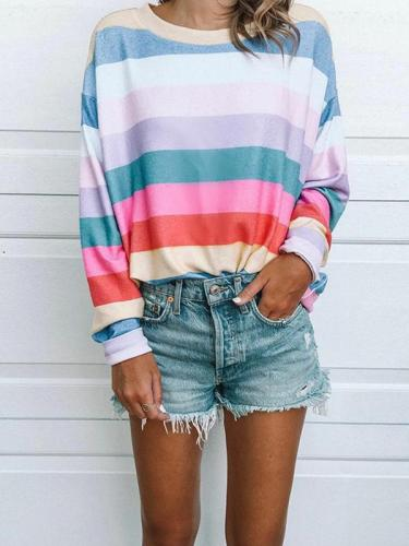 Autumn Fashion Printed Round Neck Long-sleeved Stripe Sweatshirts Top